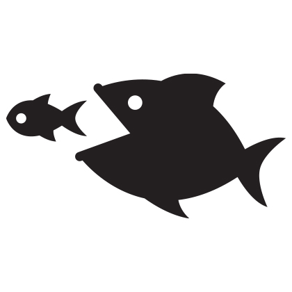 Illustration of a large fish eating a smaller one