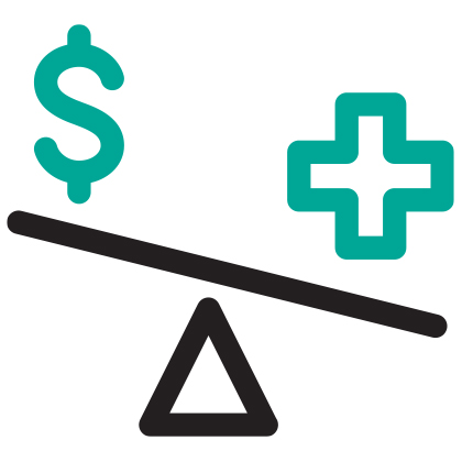 balance beam of Dollar sign and Plus sign